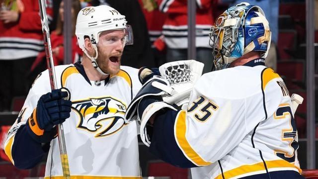 Pekka Rinne fue la figura salvando a los Preds en Chicago. NHL.com.