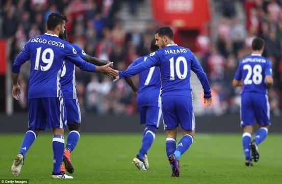 Southampton 0-2 Chelsea: Eden Hazard and Diego Costa score in ... - dailymail.co.uk