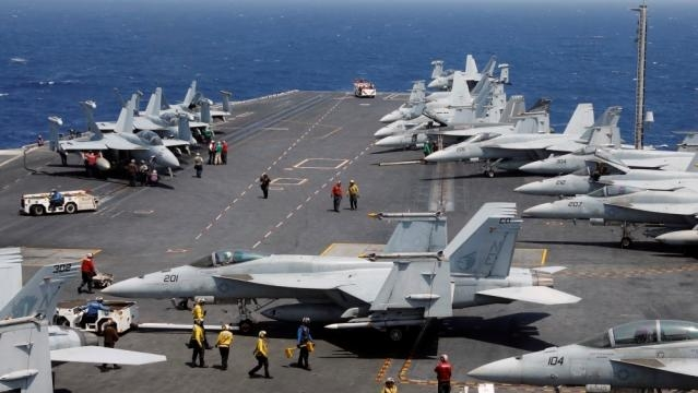 U.S Jets on board their warship USS Carl Vinson