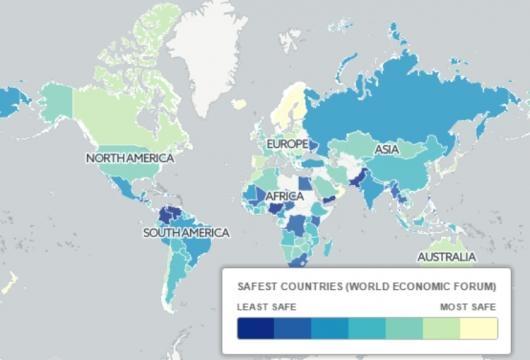 Mappa dei paesi più sicuri al mondo (Ph. Telegraph Travel Maps)
