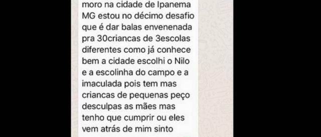 Mensagem pelo WhatsApp deixa pais em pânico no interior de Minas Gerais