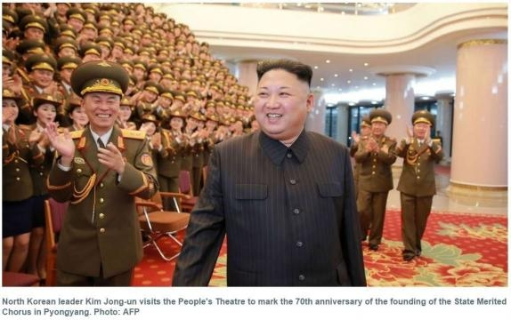 Kim Jong Un in a happy mood with his soldiers