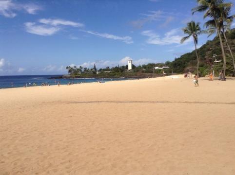 Sunbathers and Swimmers at beautiful Waimea Bay