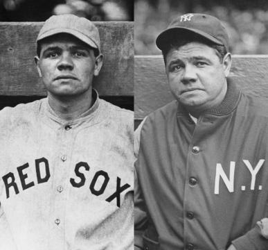 Babe Ruth en su época como pelotero de los Red Sox (izq.) y con los Yankees (der.). (vía twitter - ESPNBeisbol).