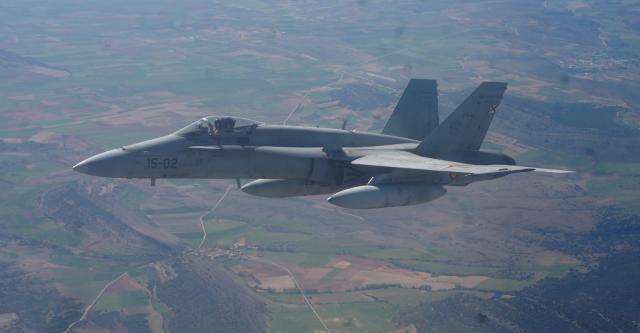 El F-18 estandarte de la aviación española actual.