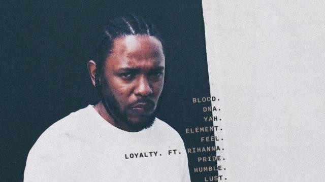 Kendrick Lamar's New Album, DAMN. Showing the last letters of the tracks on white backdrop.