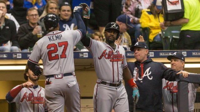 Matt Kemp ha tenido un gran inicio de campaña con los Braves. MLB.com.