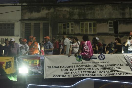 Uma das várias centrais sindicais presentes no ato