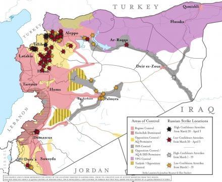 Mapa dos ataques russos Ao Norte de Hama e Sul de Idlib