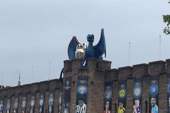 Champions League posters at Cardiff - Sam Austin twitter