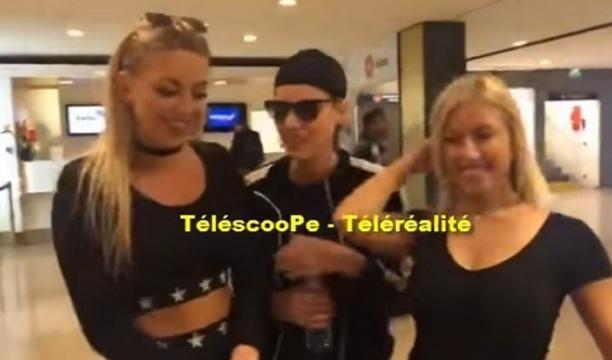 Fanny, Nadège, Stéphanie et Maeva à l'aéroport d'Orly pour débuter le tournage de La Villa 3