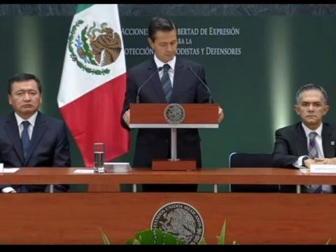 El Presidente anunciando medidas para proteger a periodistas.