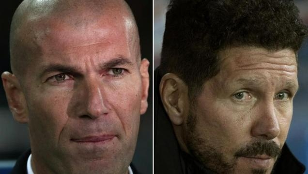 Real Madrid manager Zinedine Zidane and Atletico manager Diego Simeone