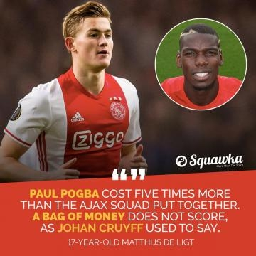 Paul pogba costed 5 times more than whole young Ajax squad. - @squawka