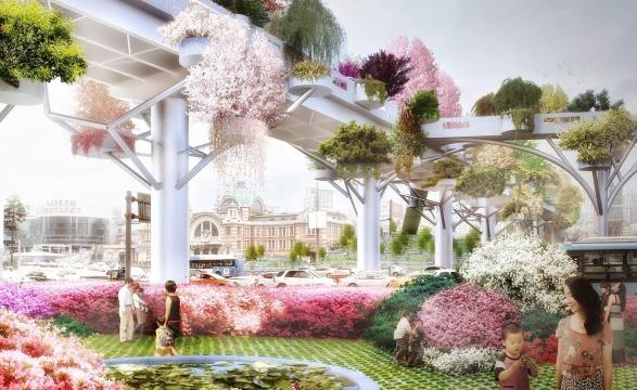 Seullo 7017, lo Skygarden sopraelevato di Seoul. Prospettiva di fioritura del giardino.