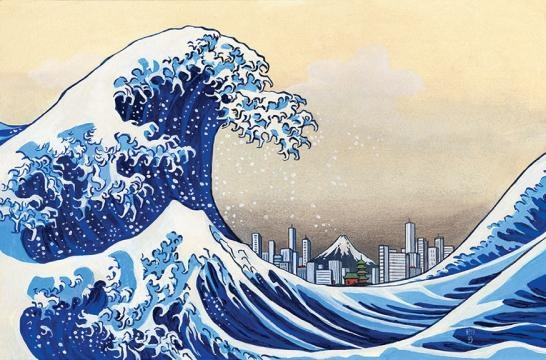 Modern take on Hokusai's Great Wave, made by JT Morrow for the ... - pinterest.com