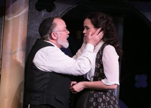 Andrew Weems as Shylock and Amaia Arana as his daughter, Jessica. Photo: Jerry Dalia/The Shakespeare Theatre of New Jersey, used with permission.