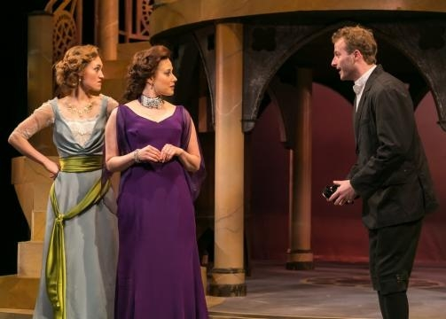 Rachel Towne as Nerissa, Melissa Miller as Portia, and Byron Clohessy as Stephano. Photo: Jerry Dalia/STNJ, used with permission.