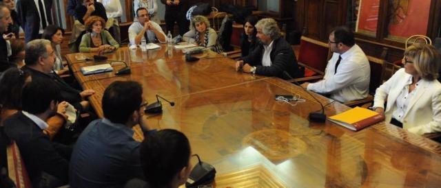 Beppe Grillo in una visita in Campidoglio