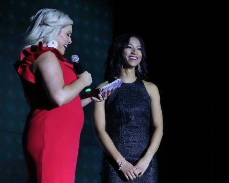Miss Delaware 2017 Chelsea Bruce answers a question on stage - Photo © Joe Whiteko; used by permission.