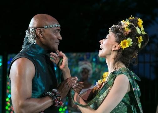 Earl Baker Jr. (Oberon) and Vanessa Morosco (Titania). Photo: Jerry Dalia/The Shakespeare Theatre of New Jersey, used with permission.