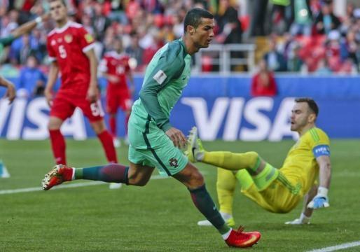 Ronaldo al 8 marcó el único gol del partido. Los Andes.com.