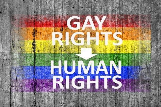 Bandiera gay diritti sono i diritti umani e Lgbt cemento dipinta ... - depositphotos.com