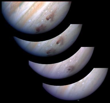 Evolution of 'G' & 'L' fragments after collision with Jupiter. Credit: R. Evans, J. Trauger, H. Hammel and the HST Comet Science Team and NASA