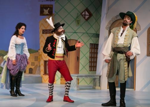 Célie and the disguised Mascarille can't seem to convince Andrès (Danilo Ottaviani). Photo: Jerry Dalia/STNJ, used with permission.