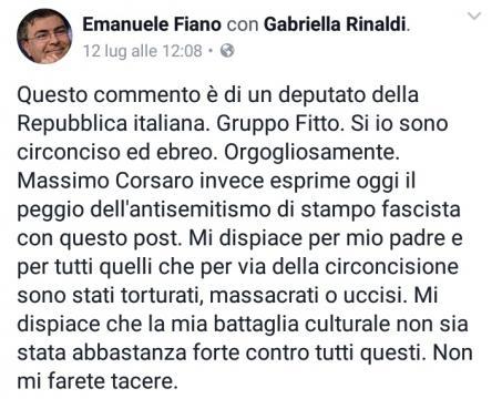 La replica di Emanuele Fiano su Facebook.