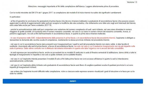 Le avvertenze pubblicate subito dopo il login prima della compilazione del Modello B: II e III fascia docenti