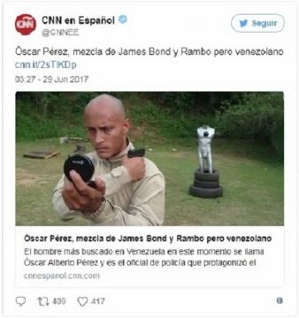 Oscar Perez nell'account Twitter di BBC Español