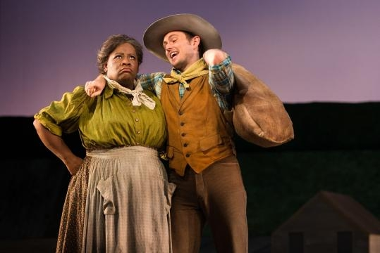 Michael Roach as Will Parker with Judith Skinner (Aunt Eller). Photo: Karli Cadel/The Glimmerglass Festival, used with permission.