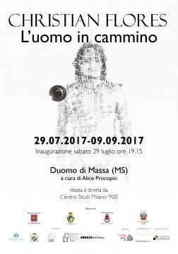 Il manifesto della terza esposizione del Duomo di Massa: L'uomo in cammino, di Christian Flores