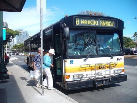 A bus stop in Ala Moana center, Honolulu (credit – Surf100ify – wikimediacommons)