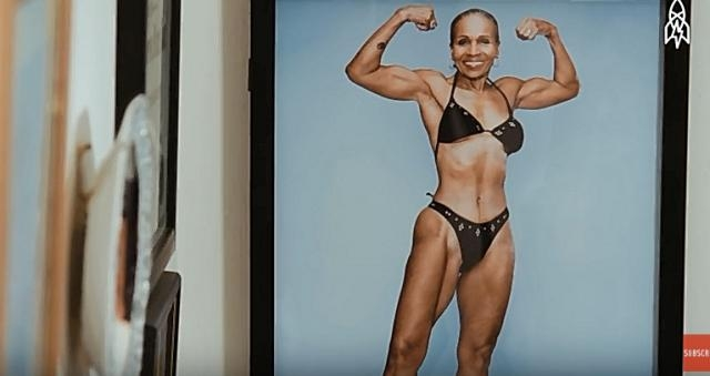 Ernestine Shepherd flexes for the camera- YouTube/ Great Big Story Channel