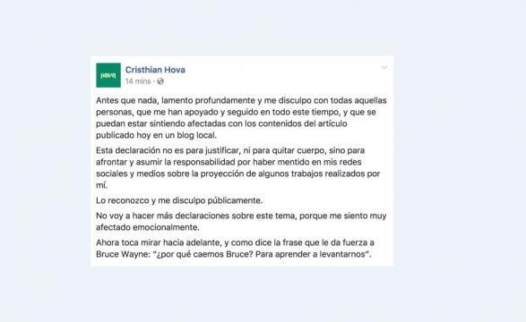 Imagen del Facebook de Hova tras la publicación en el Blog