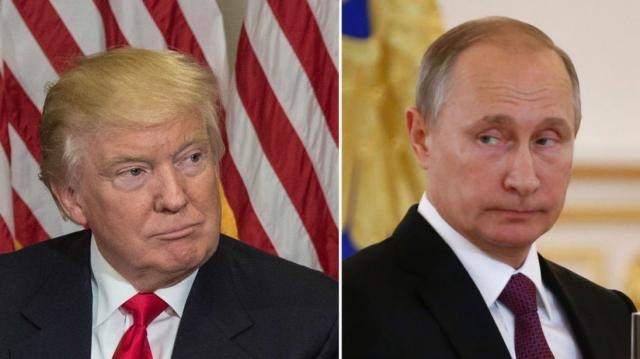 Trump and Putin at their first face-to-face meeting.