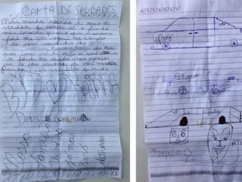 Adolescente manda carta de saudades para a mãe.