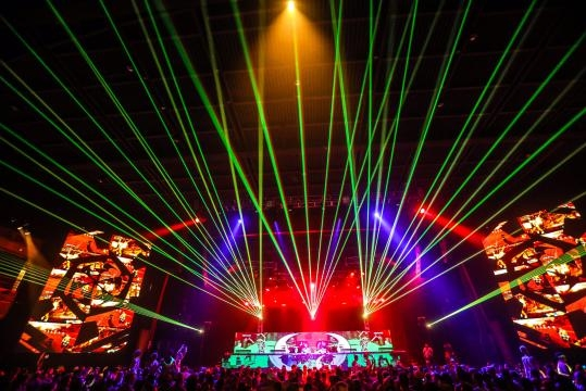 Laser shows and live music are often frequently seen at Jake's events. / Photo via Jake Resnicow, used with permission.