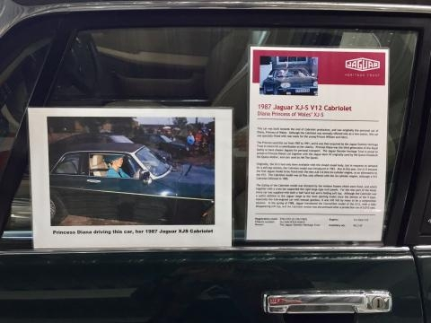 La Jaguar XJ-S V12 Cabriolet di Lady Diana.