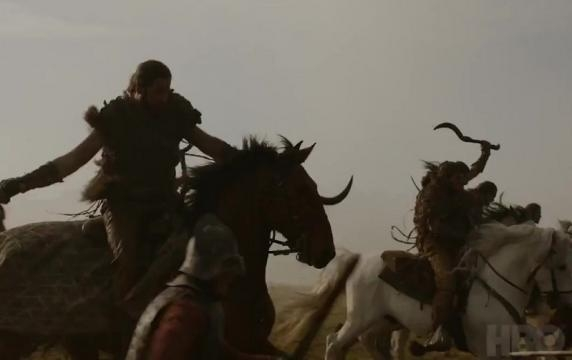 Dothrakis against Lannister soldiers. Screencap: GameofThrones via YouTube