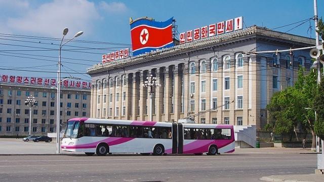 Pyongyang Trolly Buses (Credit – Clay Gilliland – wikimediacommons)
