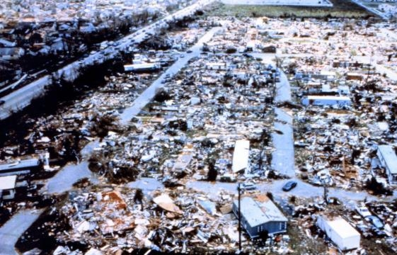 Hurricane Andrew brought hell to densely populated areas. Picture via songfacts.com