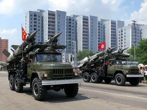 Missiles on display on North Korea Victory Day (Credit – Stefan Krasowski – wikimediacommons)