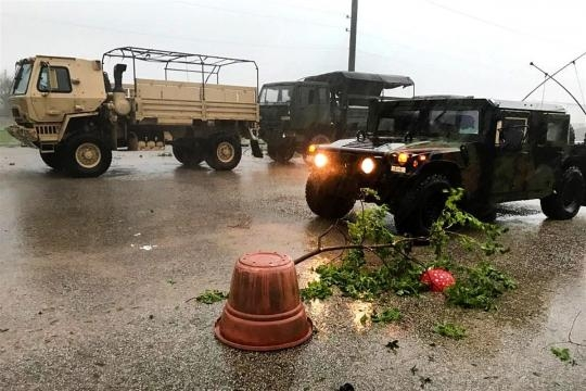 Texas Army National Guardsmen assess the damage caused by Hurricane Harvey in Victoria, Texas, - department of defence