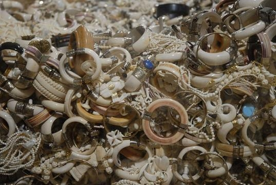 Confiscated ivory jewelry slated for destruction in the crush (credit – Wikimedia Commons)
