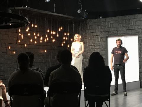 Angie Tadei en la grabación del último episodio