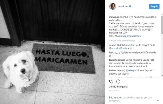 Publicación de Inma Cuesta en Instagram