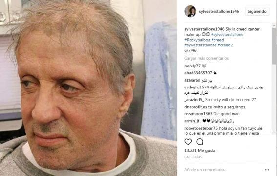 Sylvester Stallone luce enfermo (via Instagram sylvesterstallone1946)